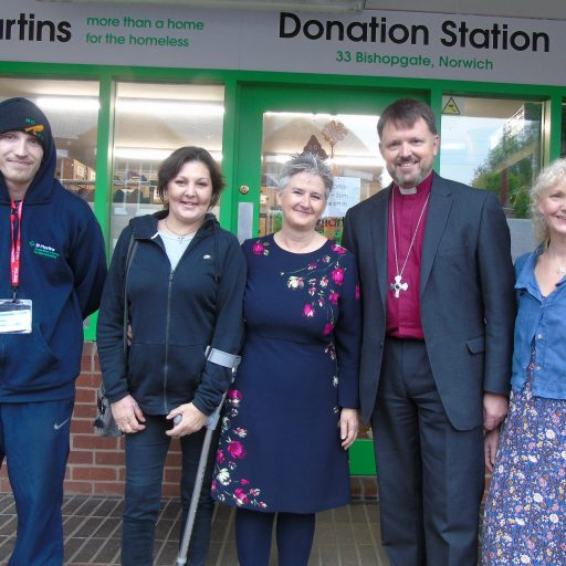 Featured image for New Norwich bishop's first visit is to homeless charity St Martins