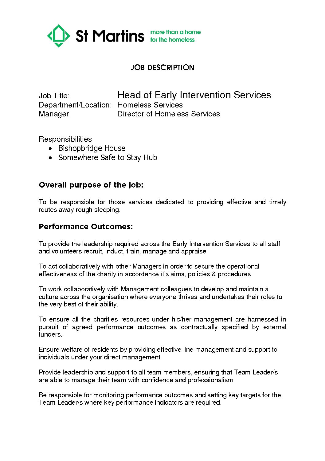 Featured image for Homesless Services Head of Early Intervention- JD